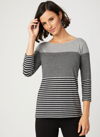 Stripe Print ¾ Sleeve Top, Grey, hi-res