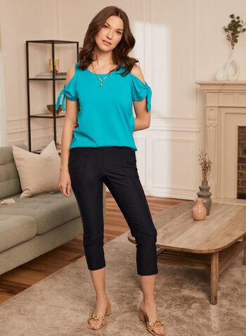 Capri à enfiler , Bleu,  printemps été 2021, pantalon, pull-on, à enfiler, capri, jambe étroite, poches