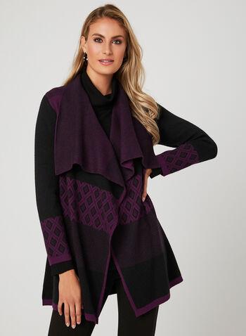 Cardigan ouvert en tricot à motifs, Violet, hi-res
