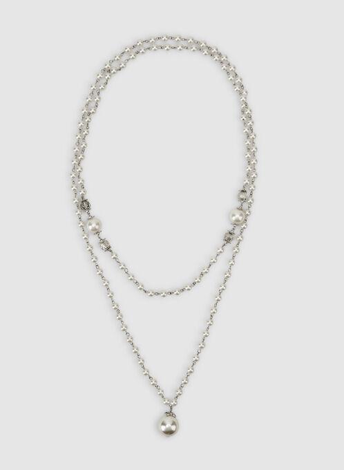 Collier sautoir à perles, Blanc cassé, hi-res
