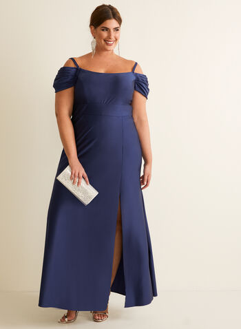 Satin Off-the-Shoulder Dress, Blue,  dress, evening, occasion, satin, off the shoulder, spaghetti straps, pleated, spring summer 2020