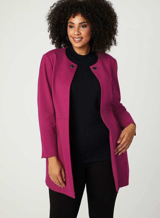 Grommet Detail Duster Jacket, Pink, hi-res