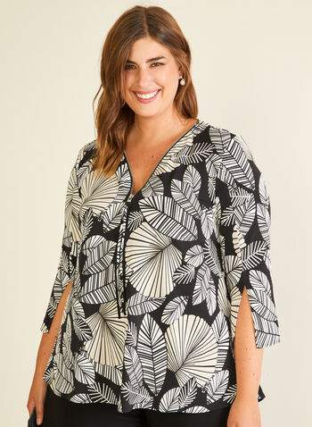 Joseph Ribkoff - Leaf Print Zipper Collar Top, Black,  top, 3/4 sleeves, zipper, v-neck, jersey, leaf print, spring summer 2020