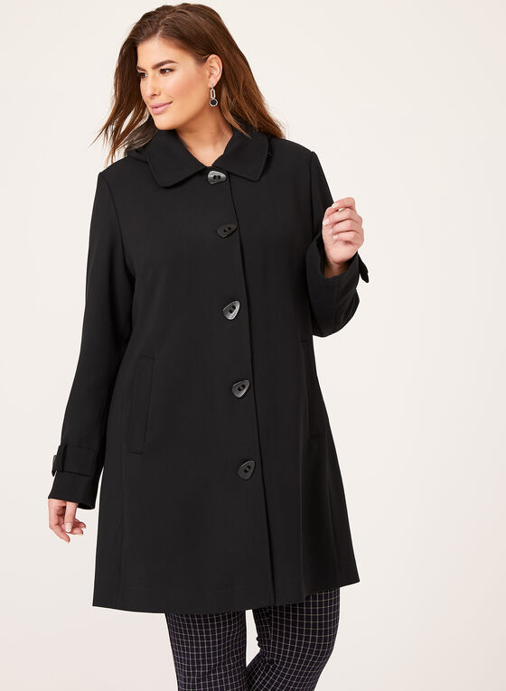 Water Resistant A-Line Coat, Black, hi-res