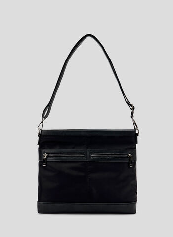 Faux Leather Trim Crossbody Bag, Black, hi-res