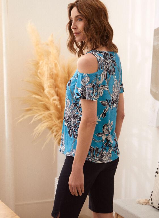 T-shirt fleuri à épaules ajourées, Bleu