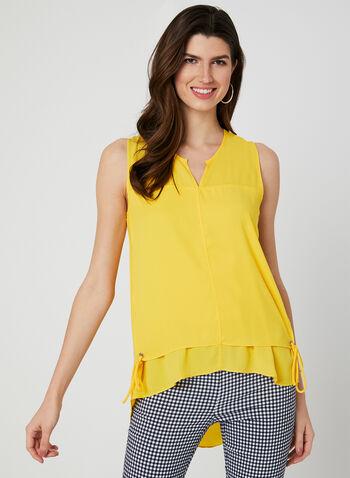 Elena Wang - Sleeveless Tunic Blouse, Yellow, hi-res,  sleeveless, blouse, tunic, grommets, tie, spring 2019