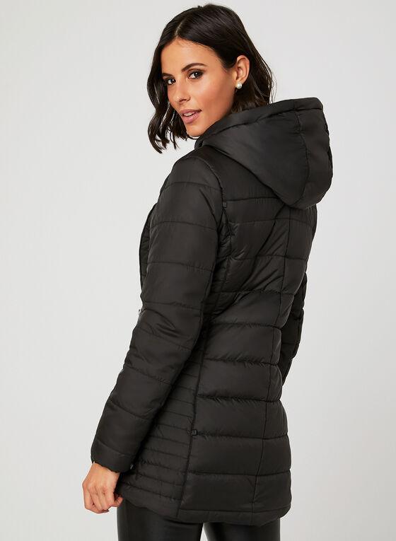 Manteau en duvet avec capuchon en fausse fourrure, Noir