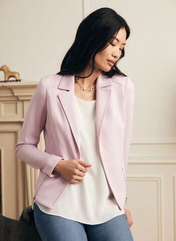 Topstitch Blazer, Purple,  blazer, jacket, notch collar, topstitching, zipper, long sleeve, spring summer 2021