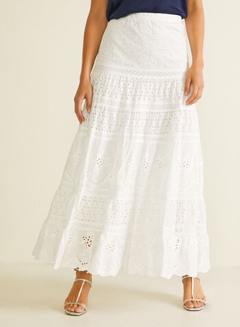 English Lace Maxi Skirt, White,  skirt, long, maxi, lace, pull-on, spring summer 2020