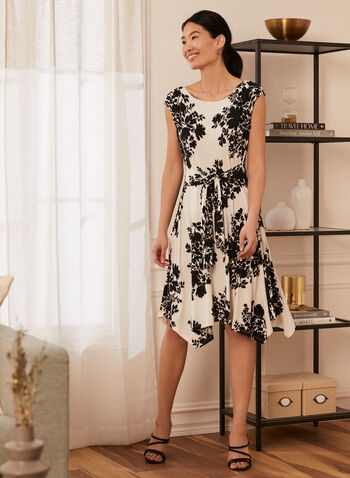 Floral Print Dress, White,  spring summer 2021, dress, flower, flowery, sash, belt, tie, cap sleeve, sleeveless, hanky hem, hidden back closure
