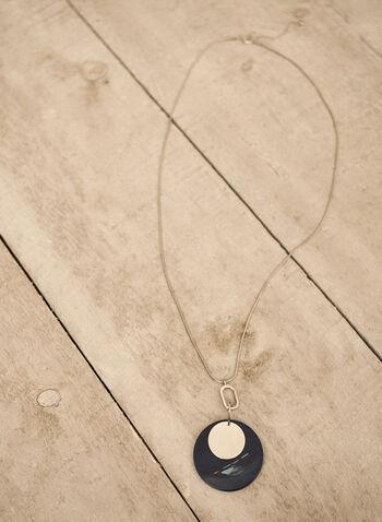 Collier à pendentif arrondi, Bleu,  accessoires, collier, bijoux, pendentif arrondi, résine, cercle, chaîne serpent, automne hiver 2021