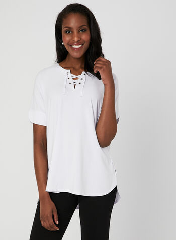 Lace Up T-Shirt, White, hi-res