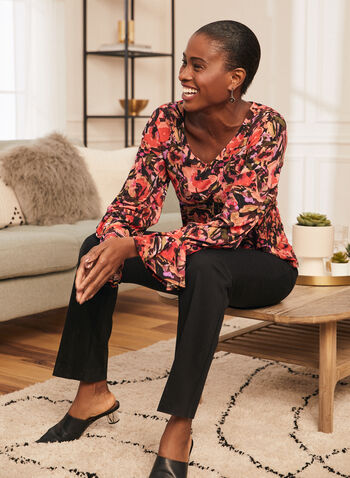Floral Print Long Sleeve Top, Multi,  top ,blouse, floral, long sleeves, ruffled, v-neck, spring summer 2021