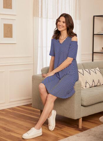 Stripe Print Dress, Blue,  spring summer 2021, dresses, striped print, cold shoulder, bare shoulder, open shoulder, v neck, short sleeves