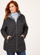 Hooded Lightweight Quilted Coat, Black, hi-res