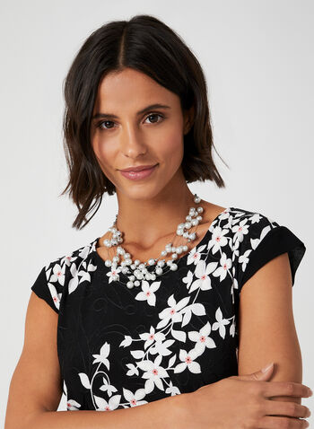 Floral Puff Print Top, Black, hi-res,  jersey, chiffon, short sleeves, floral print, puff print, fall 2019, winter 2019