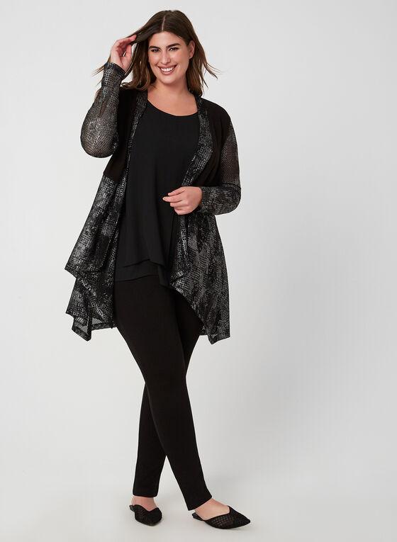Compli K - Haut ouvert en crochet et tricot, Noir