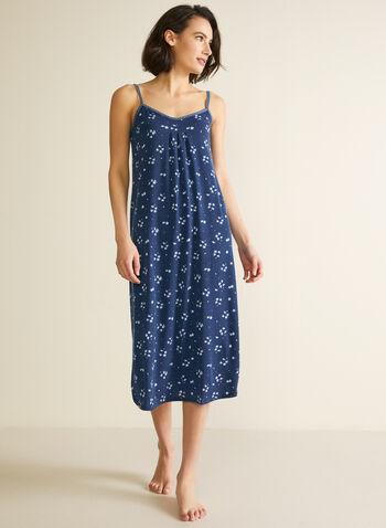 Robe de nuit longue à bretelles, Bleu,  automne hiver 2020, robe de nuit, pyjama, chemise de nuit