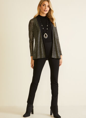 Metallic Detail Open Front Top, Black,  Fall winter 2020, top, blouse, open front, abstract print,3/4 sleeve