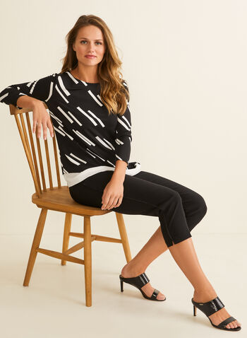 Geometric Print Asymmetric Top, Black,  blouse, top, jersey, crepe, textured, geometric, asymmetric, 3/4 sleeves, boat neck, spring summer 2020