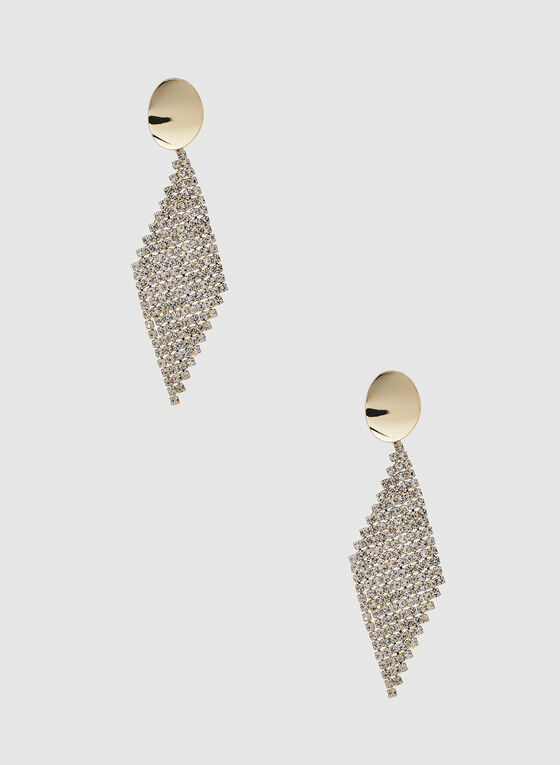 Diamond Shaped Dangle Earrings, Gold