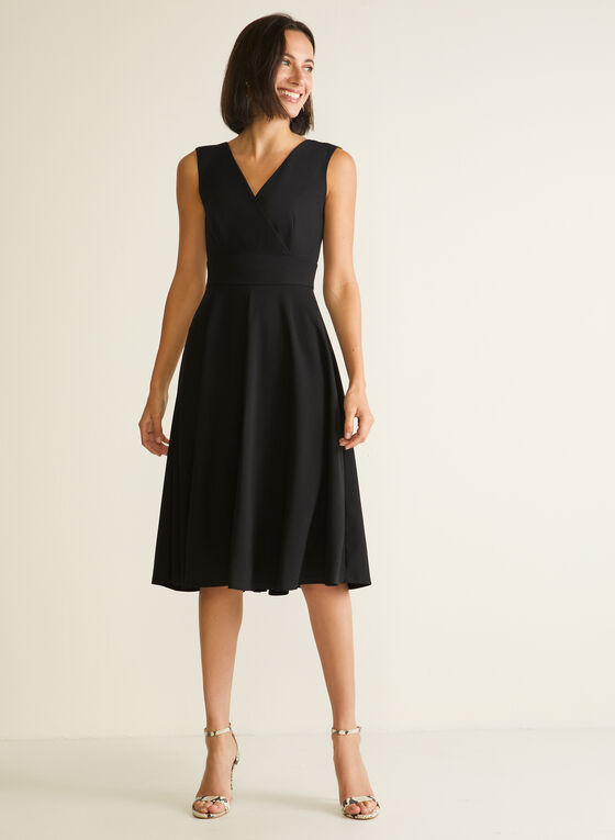 Sleeveless Fit & Flare Dress, Black