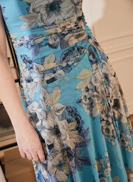 Floral Print Drape Neck Dress, Blue
