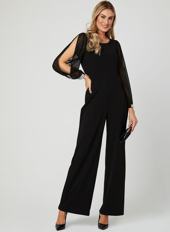 Balloon Sleeve Jumpsuit, Black, hi-res
