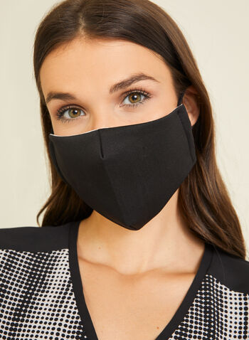 Monochrome Fabric Mask, Black,  mask, monochrome, cotton, adjustable, washable, reusable, fall winter 2020