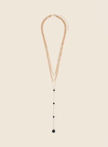 Tiered Multi-Chain Y Necklace, Black,  jewellery, necklace, chain, multi, pendant, tiered, y, fall winter 2020