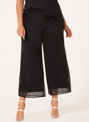 Pantalon à jambe large et mousseline, Noir, hi-res