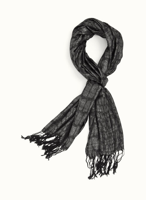 Animal Print Metallic Scarf , Black, hi-res