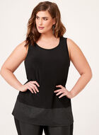 Glitter Hem Sleeveless Top, Black, hi-res