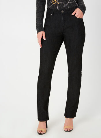 Simon Chang - Jean coupe signature à jambe droite, Noir,  5 poches, denim, broderies, extensible, ventre plat, automne hiver 2019