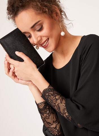 Lace Sleeve Insert Chiffon Blouse, Black, hi-res