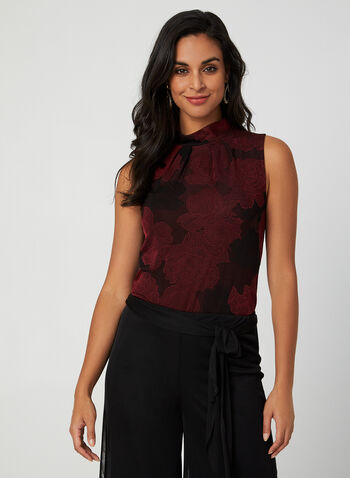 Mock Neck Sleeveless Top, Red,  Canada, top, sleeveless, floral, mock neck, fall 2019, winter 2019