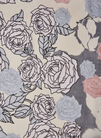 Foulard long à tons pastel , Rose,  foulard, léger, floral, roses, pastel, soie, long, printemps été 2021