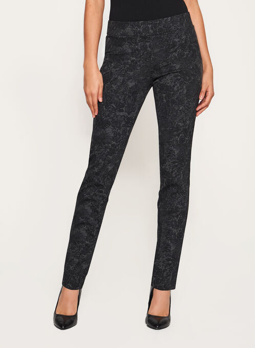 Floral Print Pull-On Pants, Grey, hi-res