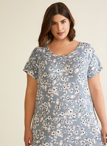 Long Floral Print Nightgown, Grey,  fall winter 2020, pajamas, nightgown, night dress, pyjamas, long