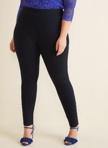 Legging à taille élastique, Bleu,  printemps été 2020, pantalon, jambe étroite, legging, taille élastique, pull-on
