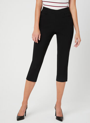 Pull-On Capri Pants, Black, hi-res,  pull-on, bengaline, stretchy, crystals, mesh, spring 2019