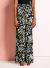 Tropical Print Wide Leg Pants, Black, hi-res