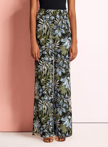 Tropical Print Wide Leg Pants, , hi-res