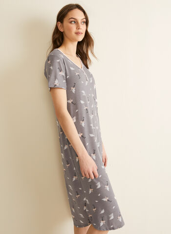 Comfort & Co. - Button Neck Nightgown, Grey,  spring summer 2020, short sleeves, faux buttons, V-neck, flamingo print, made in canada