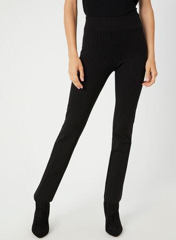 Pantalon coupe cité à fines rayures, Noir, hi-res,  taille extensible, pull on, à enfiler, longueur cheville, jambe étroite, automne hiver 2019