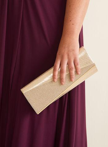 Two-Tone Metallic Clutch, Gold,  bag, evening, clutch, metallic, asymmetric, textured, golden, chain, spring summer 2020