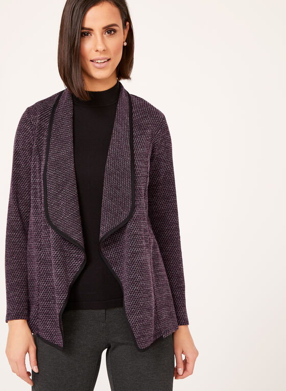 Cascade Front Knit Cardigan, Purple, hi-res