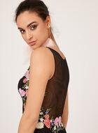 Floral Embroidery Evening Dress, Black, hi-res