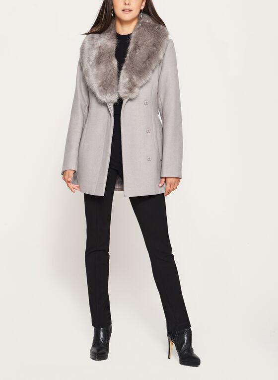 Ellabee - Structured Wool Like Coat, Brown, hi-res